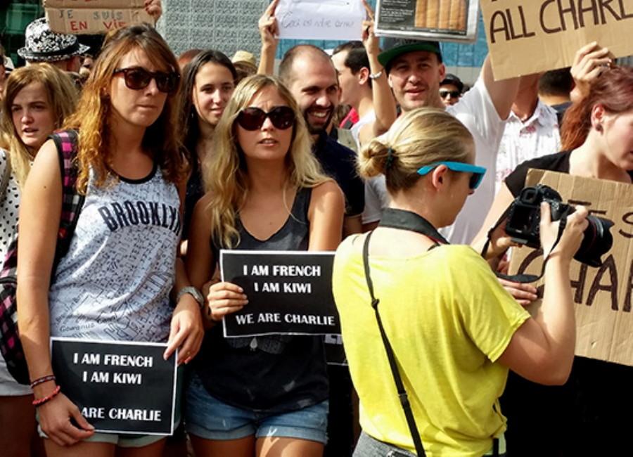 Manifestation « Je Suis Charlie » à Auckland en fin de semaine dernière.