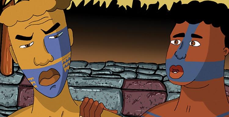 """Une image de """"La légende de Makaiaanui, un court-métrage réalisé par Guy Wallart en 2011 (produit par Guiliguili studio et l'Académie marquisienne)."""