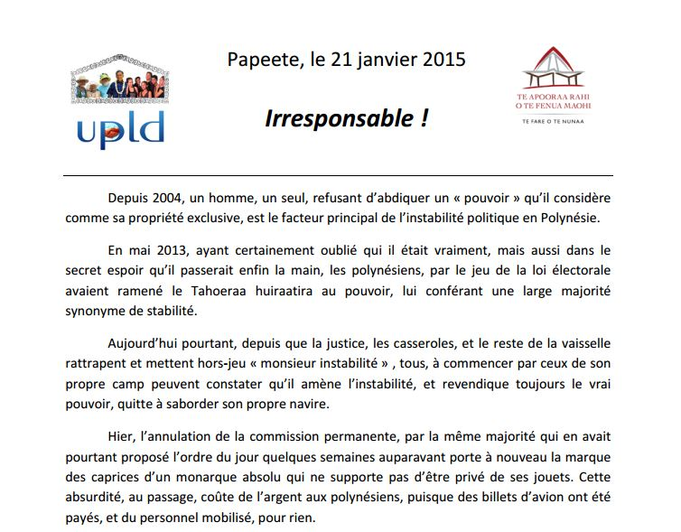 """Communiqué de l'UPLD : """"Irresponsable !"""""""