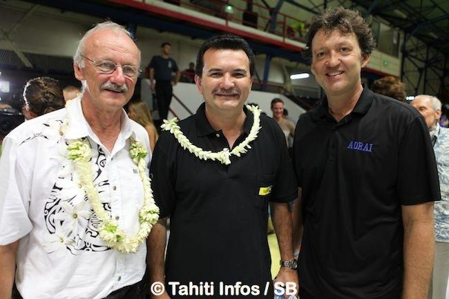 Michel Lextreyt, Mr René Temeharo Ministre des sports et Georgy Adams