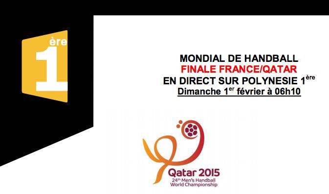 Mondial de Handball: la finale France/Qatar en direct sur Polynésie 1ère dimanche