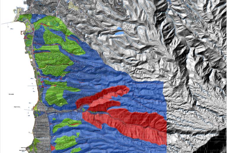 Les Plans de rpévention des risques naturels instituent notamment des zones rouges où l'inconstructibilité des terrains est avérée en raison de risques de glissement, d'inondation ou submersion lors des cyclones ou des tsunamis.