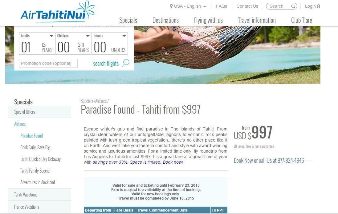 Une offre alléchante réservée aux voyageurs qui veulent venir en Polynésie française.