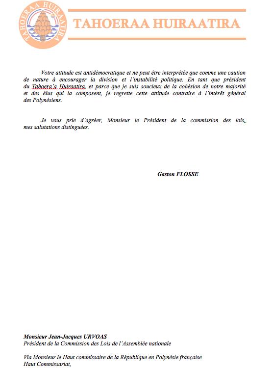 Communiqué du Taohera'a: Lettre adressée au Président de la Commission des Lois de l'Assemblée Nationale