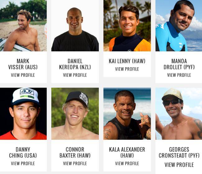 """Les huit athlètes invités avec ci dessous Laird Hamilton en Nouvelle Zélande pour la promotion de l""""évènement The Ultimate Waterman"""
