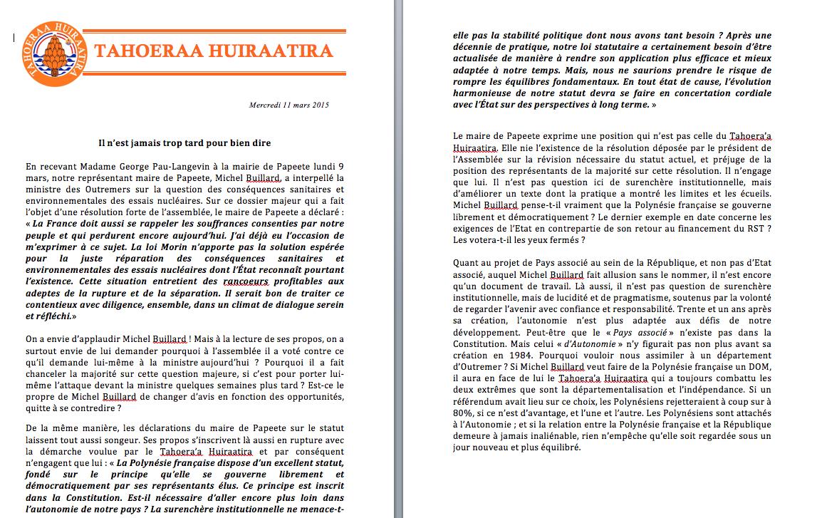 Communiqué du Taohera'a: Réaction aux propos de Michel Buillard