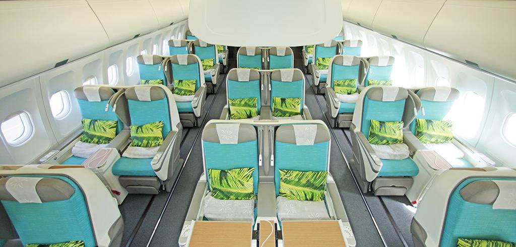 Classe Affaires Poerava en 2-2-2 sur Airbus A340 (crédit photo Air Tahiti Nui)