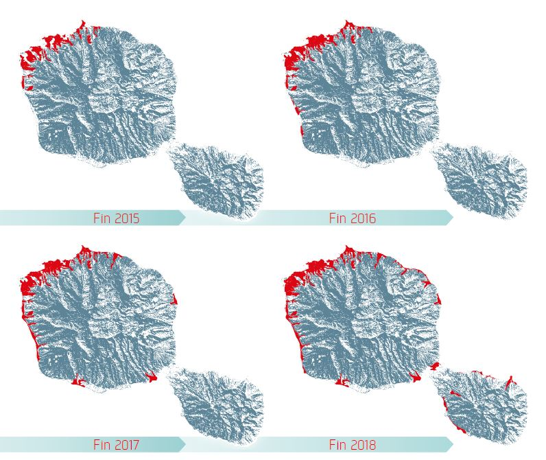 Evolution de la zone de couverture sur Tahiti