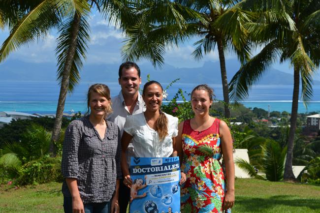Quatre des doctorants de l'UPF en route pour ces Doctoriales 2015 avec : Gaëlle Legras, Jaïka Minel, Lucie Pheulpin et Georges Frouge.