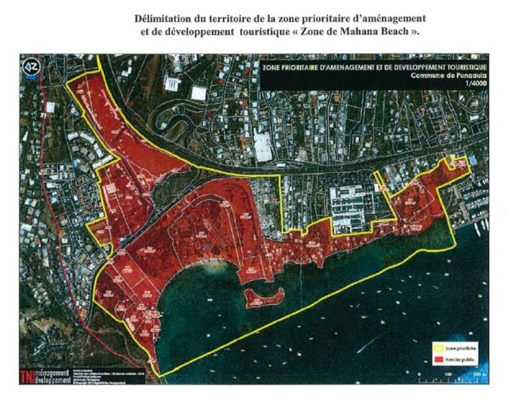 L'emprise foncière que nécessite le Tahiti Mahana Beach va au-delà des terres qui sont déjà la propriété du Pays d'où l'ouverture d'une procédure de déclaration d'utilité publique.