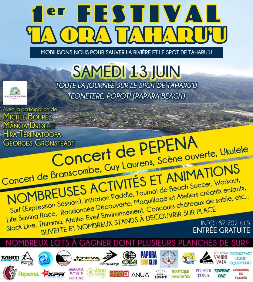 Un Festival pour 'sauver la rivière et le spot de surf' de Taharu'u à Papara.
