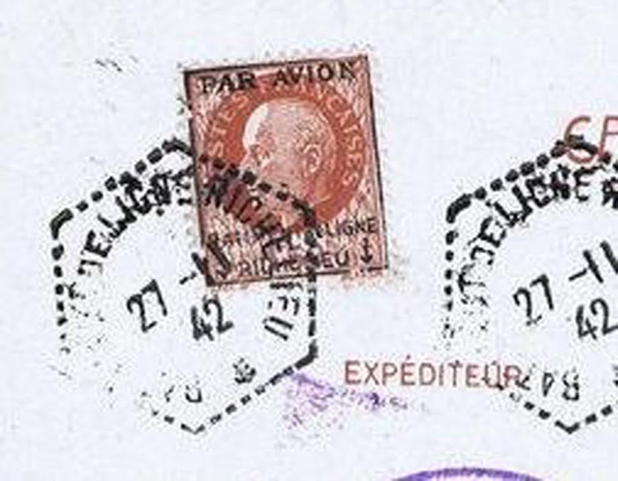 Une lettre affranchie avec des timbres à l'effigie du maréchal Pétain interceptée à Orléans