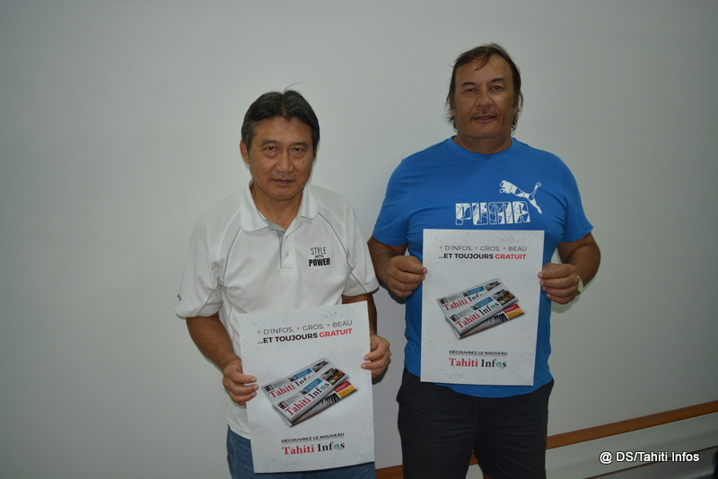 Joël Degage, le président de la Fédération polynésienne de pétanque (à droite), et Richard Vongue, le secrétaire, se disent très confiants après la signature de ce nouveau partenariat avec Tahiti Infos.