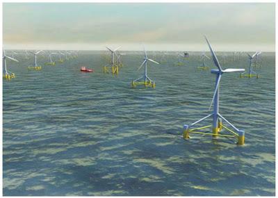 Quatre zones propices au développement de fermes éoliennes flottantes désignées.