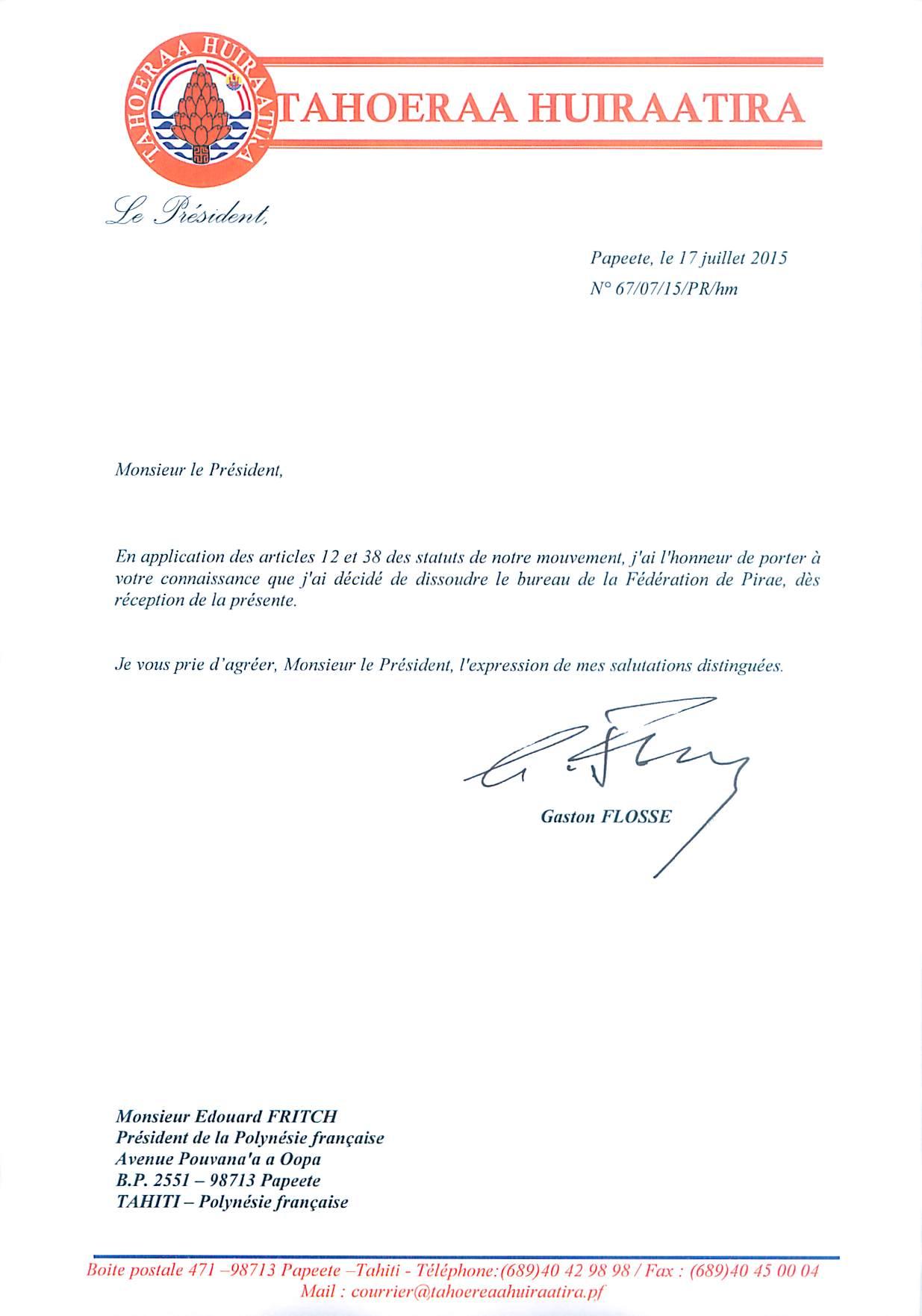 Voici le courrier de Gaston Flosse déposé hier en fin de journée au secrétariat de la Présidence