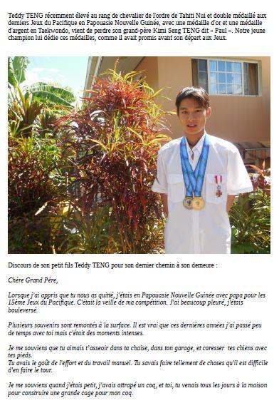 Lettre du champion de taekwondo Teddy Teng, à son grand-père décédé récemment