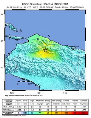 Indonésie: séisme de magnitude 7,0 (institut américain)