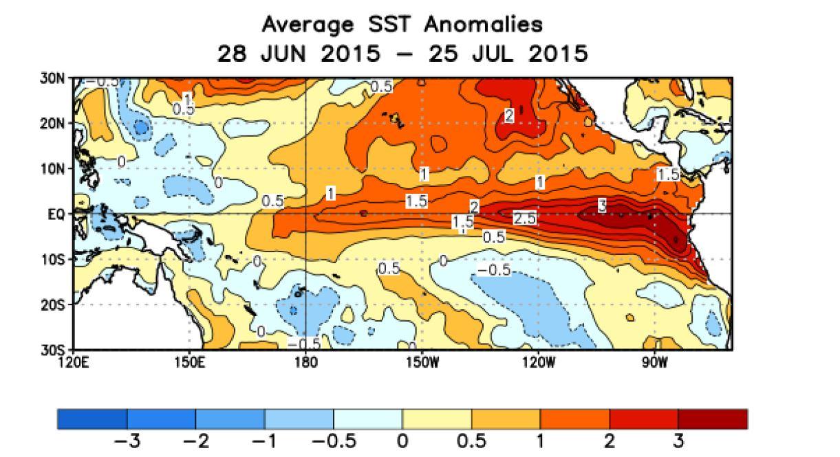 Anomalies de la température moyenne de surface de l'océan au cours des 4 dernières semaines. (source :http://www.cpc.ncep.noaa.gov)