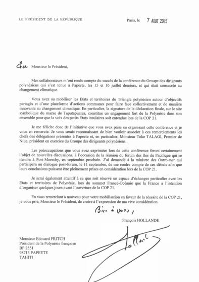 Signature du Pact : François Hollande se félicite de l'initiative prise par Édouard Fritch
