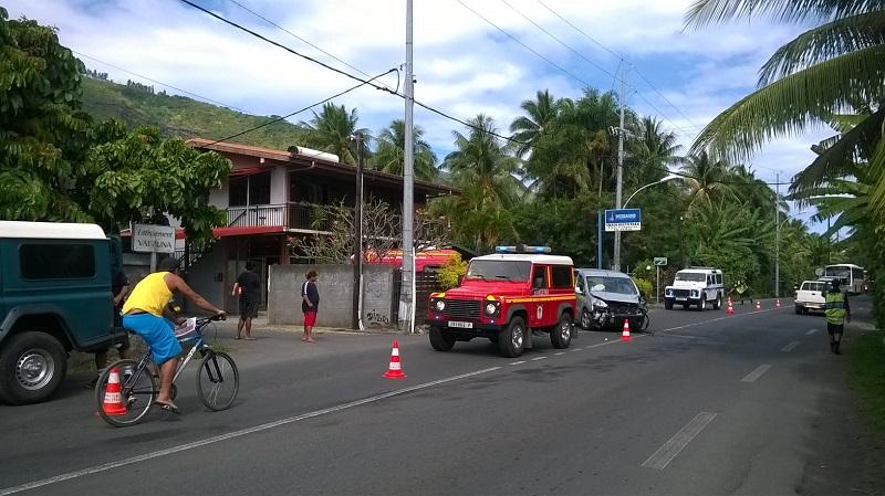 Le véhicule accidenté à Paea