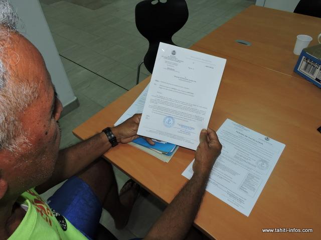 Jaros Otcenasek a du récupérer lui-même son permis de navigation à la DPAM, pour se rendre à la Direction des ressources marines
