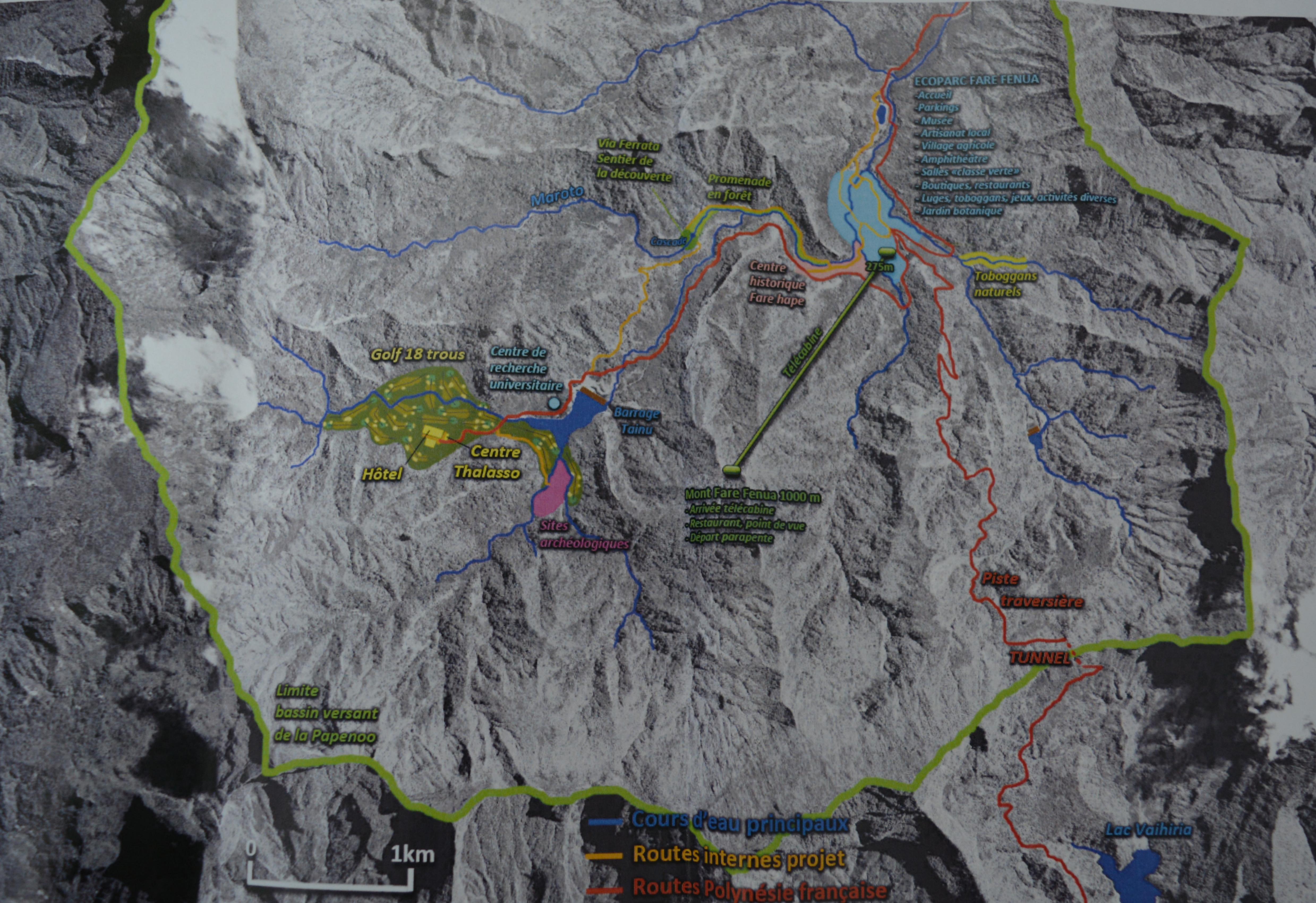 Localisation des aménagements de l'Ecoparc Fare Fenua