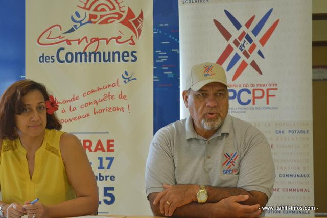 Ivana Surdacki, directrice générale adjointe du Syndicat pour la promotion des communes de Polynésie française avec Cyril Tetuanui, maire de Tumaraa et président du SPC.