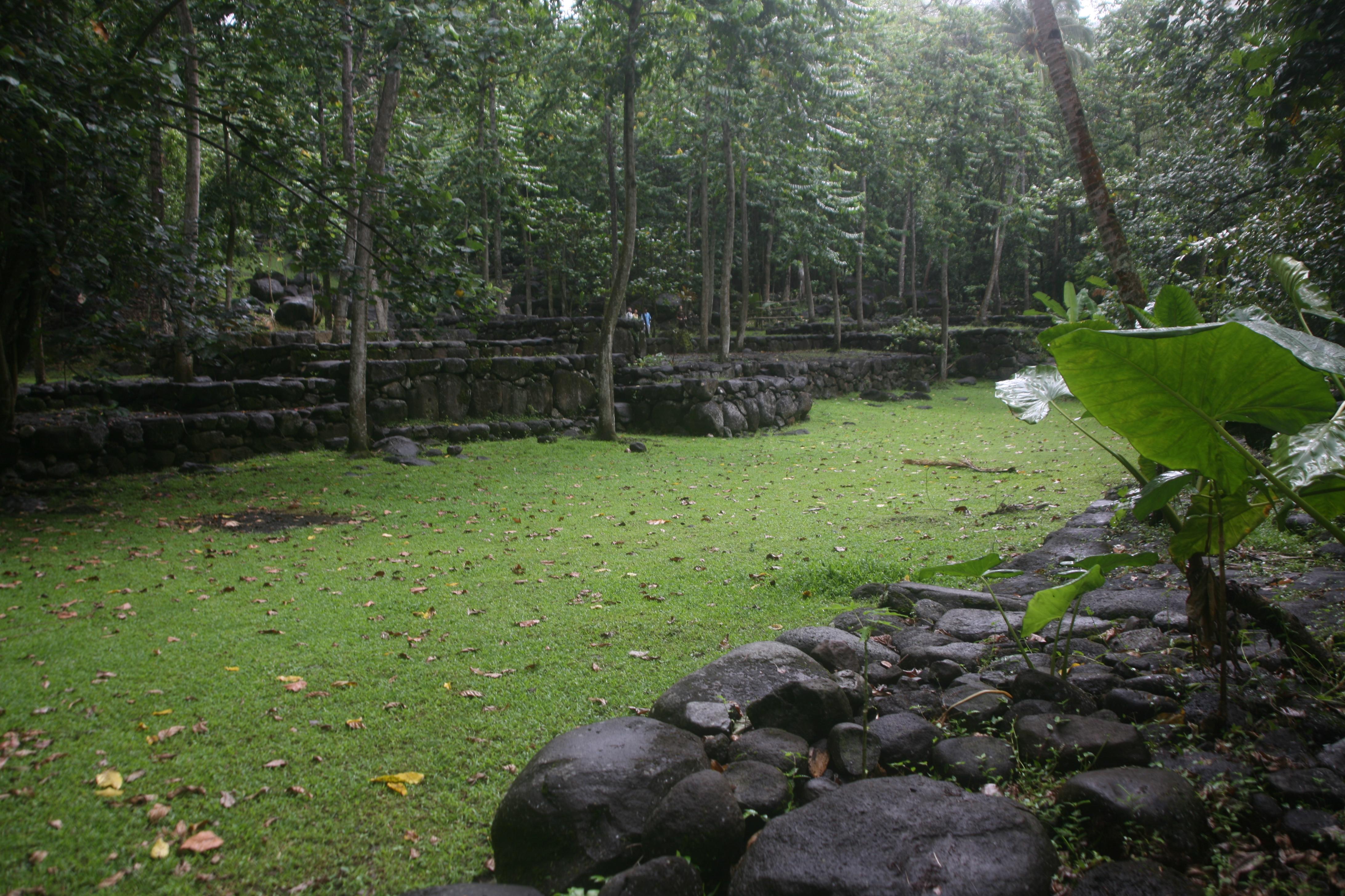 Le grand tohua Kamuihei est le premier sur lequel on arrive en descendant sur Hatiheu.
