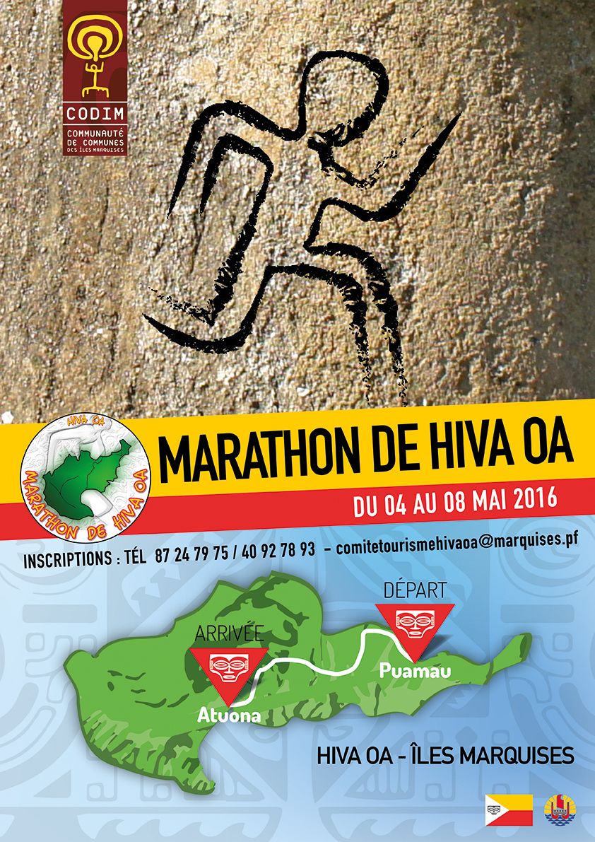 La course se déroulera entre les villages de Puamau et de Atuona, soit 42 kilomètres parcourus en un peu plus de 3 heures par les meilleurs.