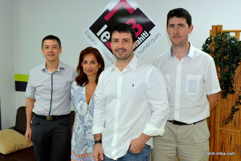 Guillaume Proia, président de l'association Le Lab, et les principaux partenaires du projet (OPEN, OPT, Axians). Il manque la TEP et la DGEN.