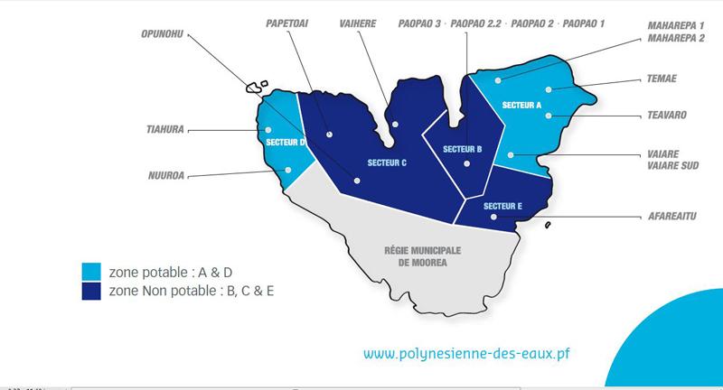 Pour la distribution de l'eau, l'île de Moorea est découpée en six zones distinctes. Pour l'instant, seuls deux secteurs sont fournis en eau potable. (Source Polynésienne des Eaux).