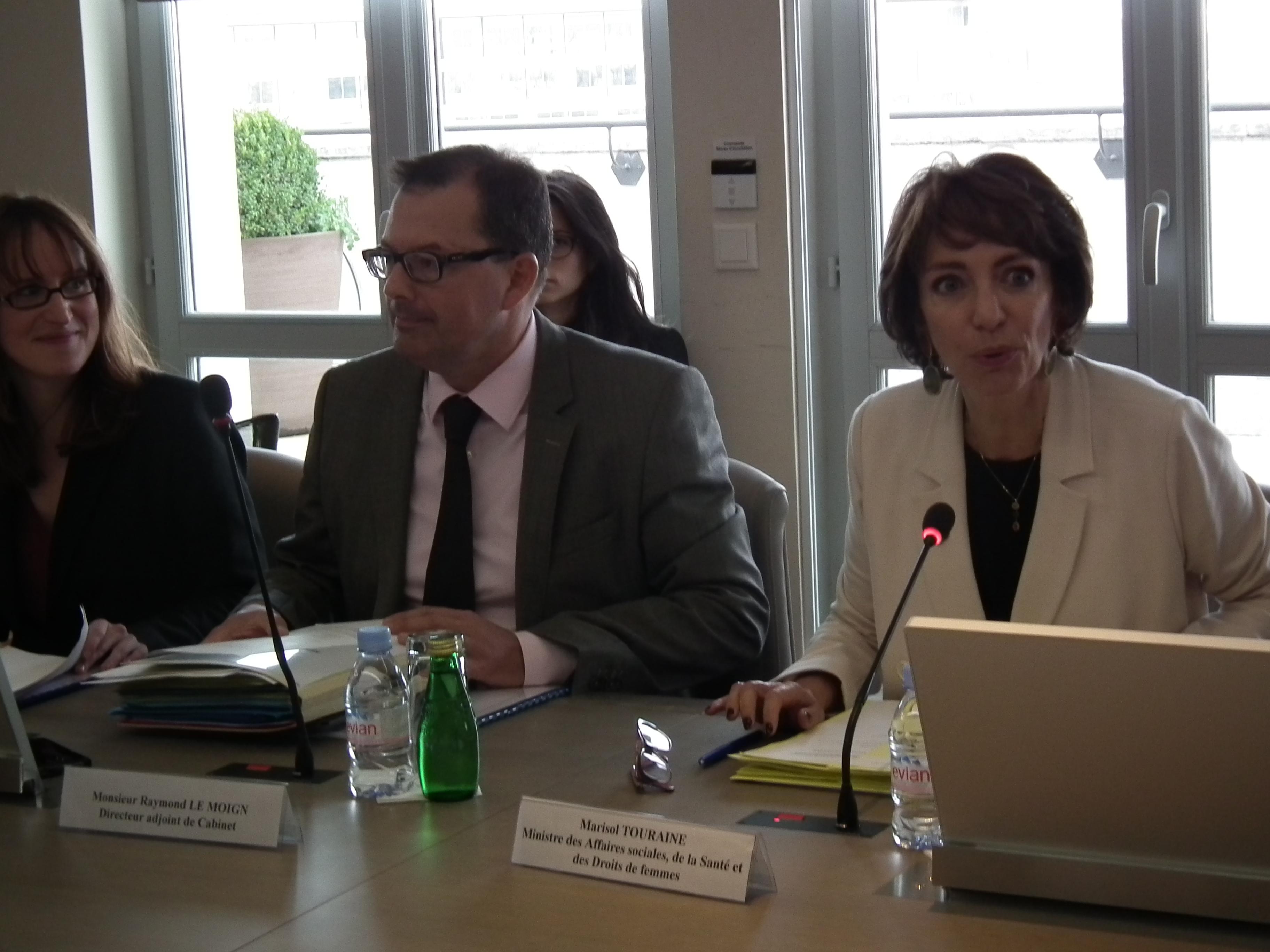 Marisol Touraine, ministre de la Santé, et son directeur de cabinet.
