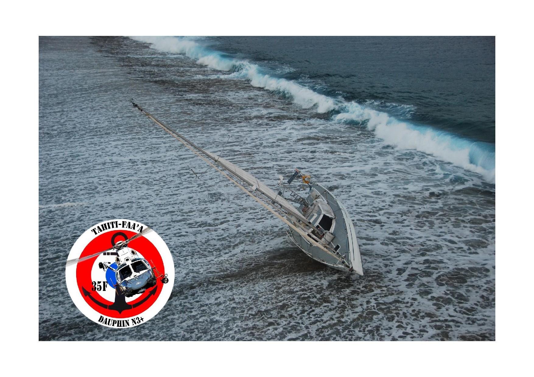 Un voilier s'échoue à Taha'a, un homme de 70 ans sauvé par hélitreuillage