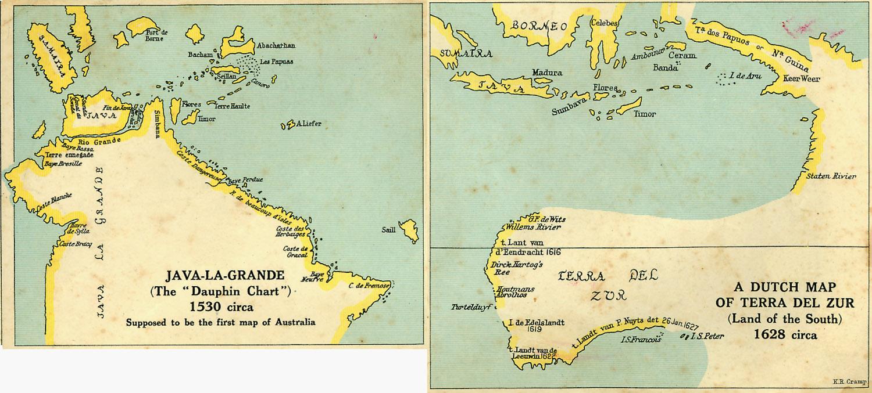 A gauche de cette illustration, une reproduction de la première carte portugaise établie à Dieppe par Jean Rotz, en 1542. A droite, l'Australie vue par les Hollandais quasiment un siècle plus tard, aux environs de 1628. Il est clair que les Lusitaniens en savaient beaucoup plus longs que les Néerlandais !