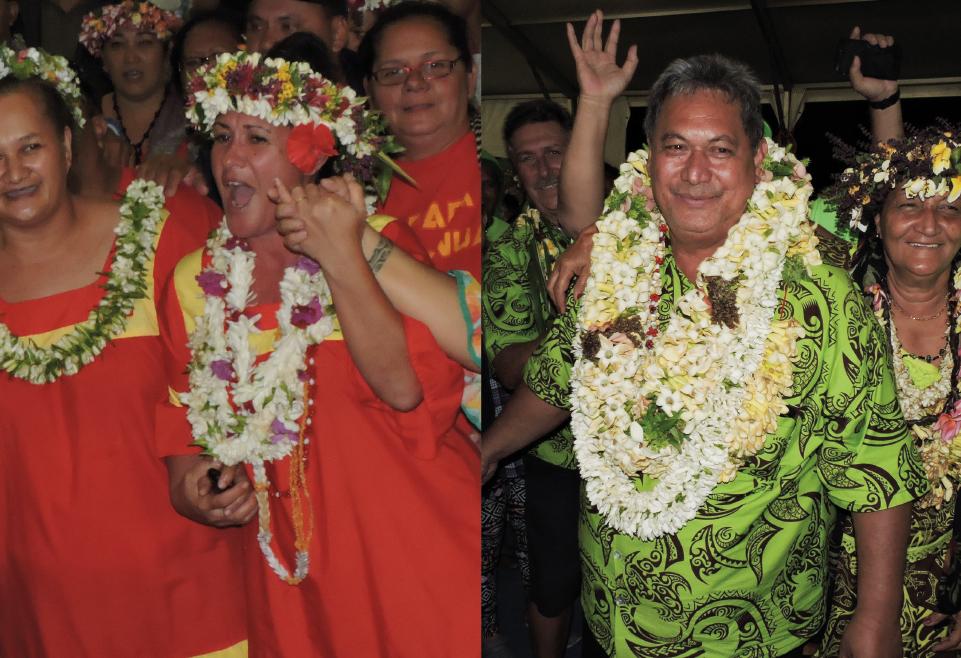 """Béatrice Legayic félicitée après l'annonce des résultats.  Putai Taae avec sa liste """"A Here ia Papara"""" a eu le soutien du président du Pays. Avec trois voix en moins par rapport à la candidate orange, il se dit confiant pour le second tour"""
