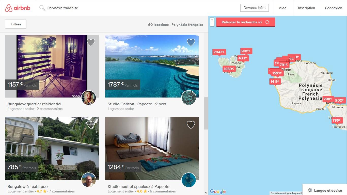 Sur AirBnB, 60 maisons, chambres ou villas sont à louer à Tahiti ou Moorea pour février prochain.