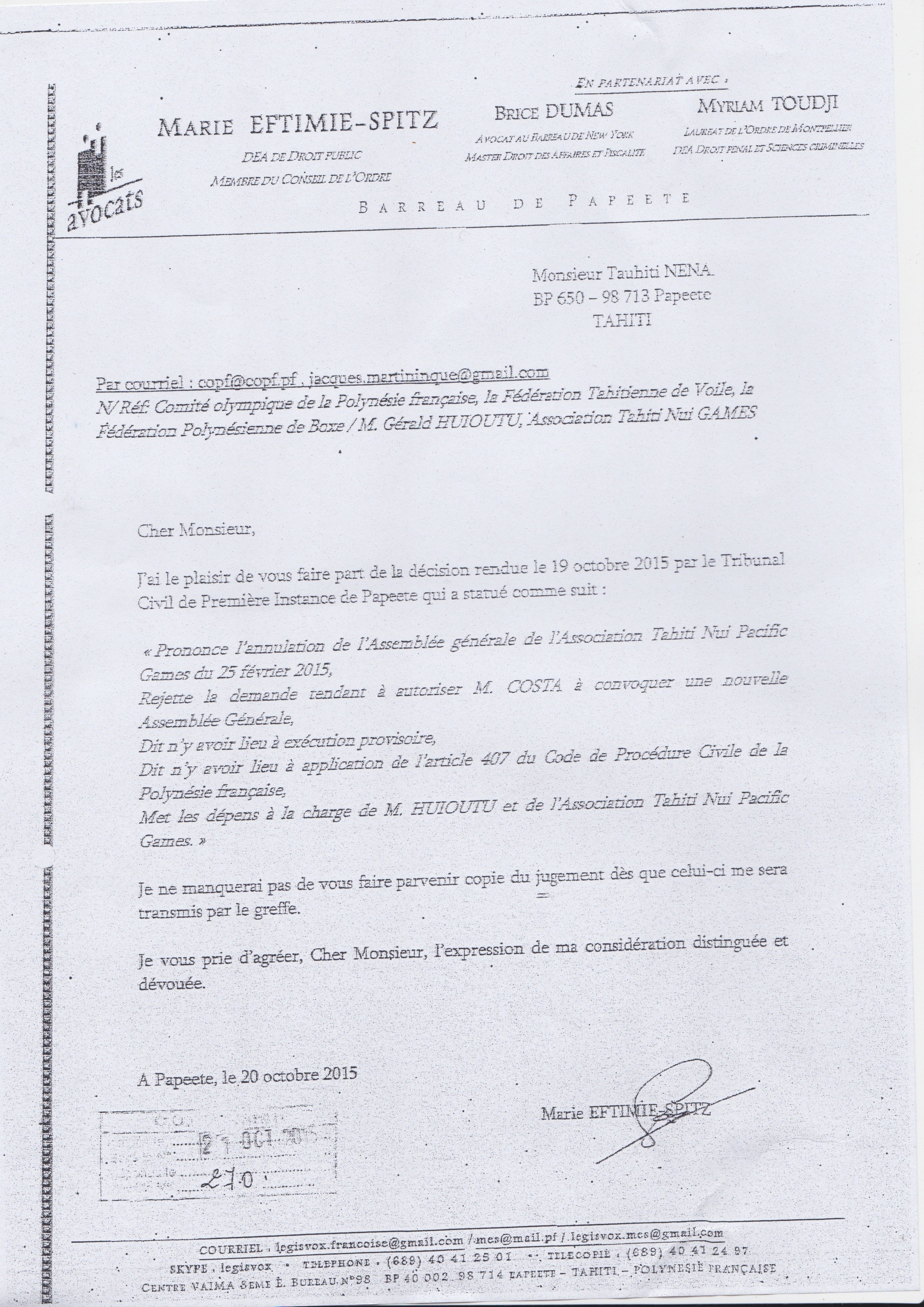 Le mail de l'avocat du COPF