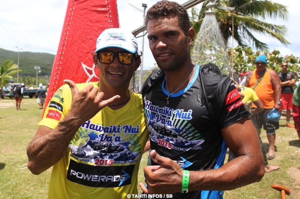 Beau moment de partage entre Steeve Teihotaata et Hiromana Florès, deux champions des deux équipes rivales Edt et Shell