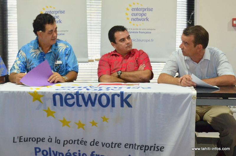 Teva Rohfritch, entouré de Stéphane Chin Loy, président de la CCISM, et de Hervé Parcineau, le coordinateur du consortium TOPIC au sein de l'EEN, vendredi lors de l'ouverture officielle de ce vaste réseau de business aux entreprises polynésiennes.