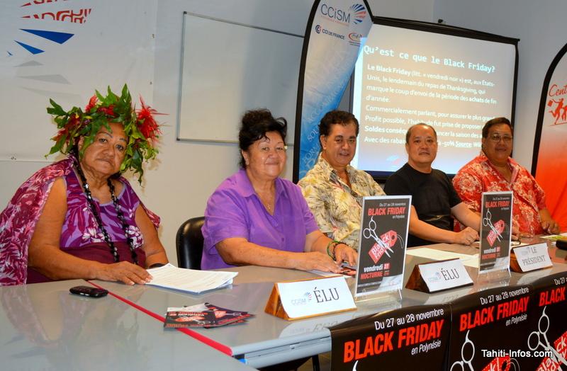 Les élus de la Commission des actions commerciales de la CCISM : Fauura Bouteau, Christine Temarii, Stéphane Chin-Loy, Joël Wong et Marc Chong.