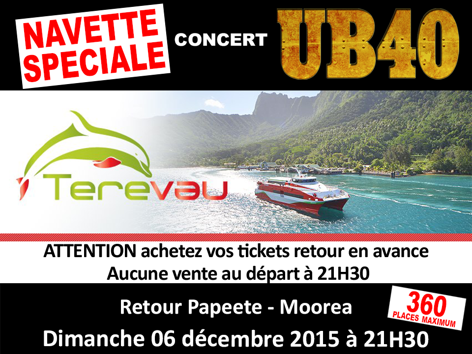 Concert de UB40 : une navette spéciale pour les habitants de Moorea