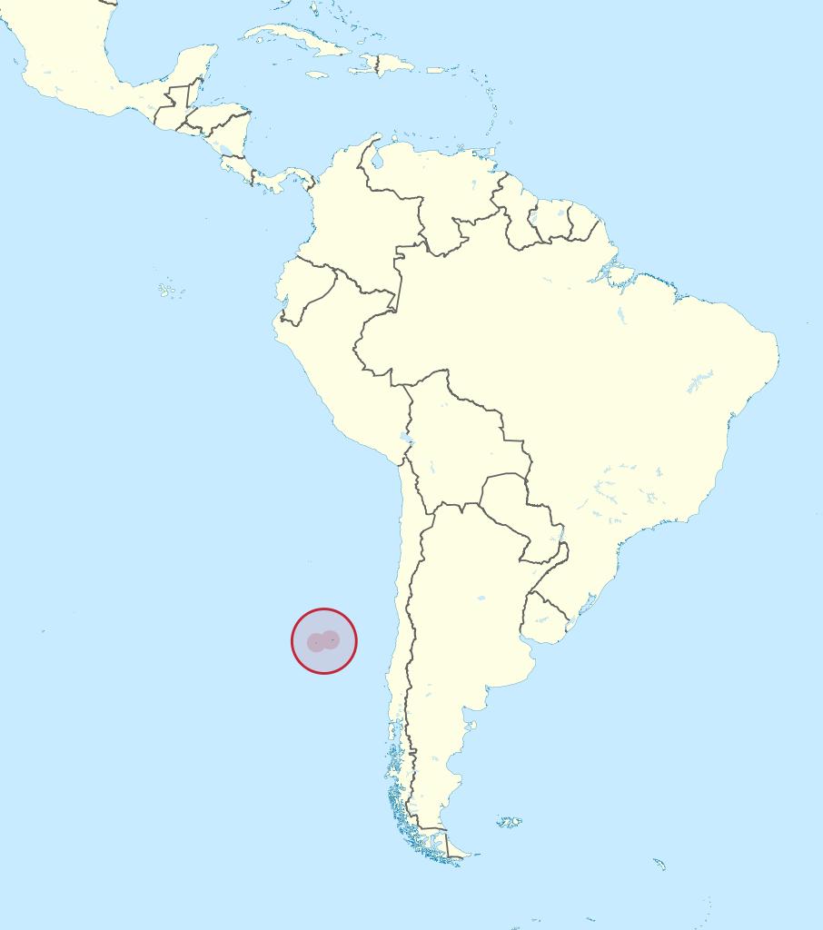 Par 33° de latitude sud, sur cette carte, la localisation de l'île de Robinson Crusoé, dans l'archipel chilien de Juan Fernandez, à 650 km environ de Valparaiso.
