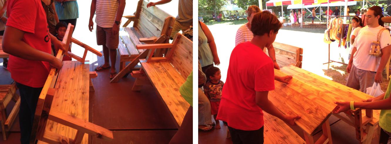 Un produit qui a fait fureur dès l'ouverture de cette exposition-vente : la table transformable en banc vendue à 36 000 Fcfp