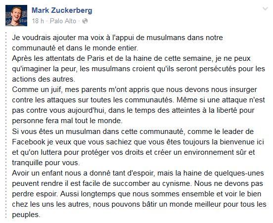 USA: le patron de Facebook s'élève contre le discours anti-musulmans