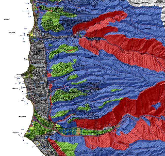 Le plan de zonage du PPR en vigueur actuellement à Punaauia, depuis le 25 mars 2010 (par arrêté ministériel) démontre l'étroitesse des parcelles où les risques sont nuls ou faibles.