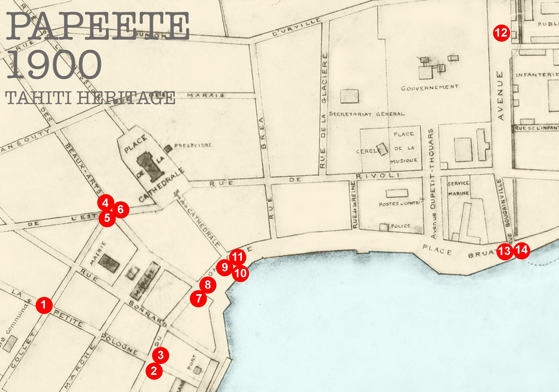 Plan ancien centre ville Papeete