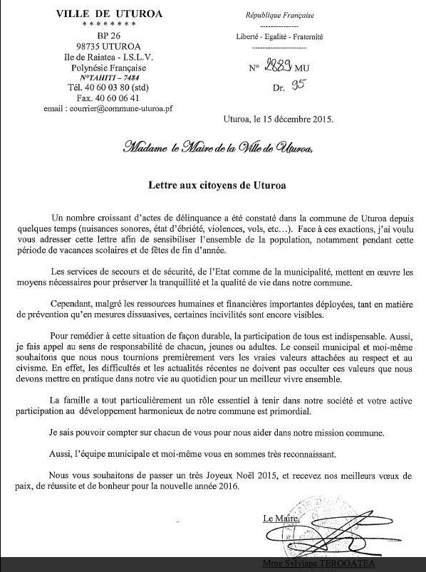Raiatea : à la veille des fêtes la tavana d'Uturoa en appelle au civisme de ses administrés