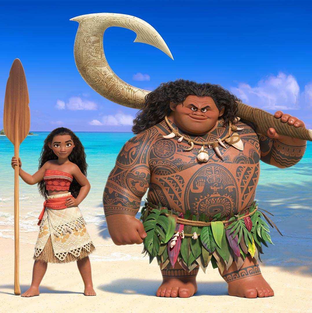 La princesse Vaiana et son protecteur pour son dangereux voyage : Maui.