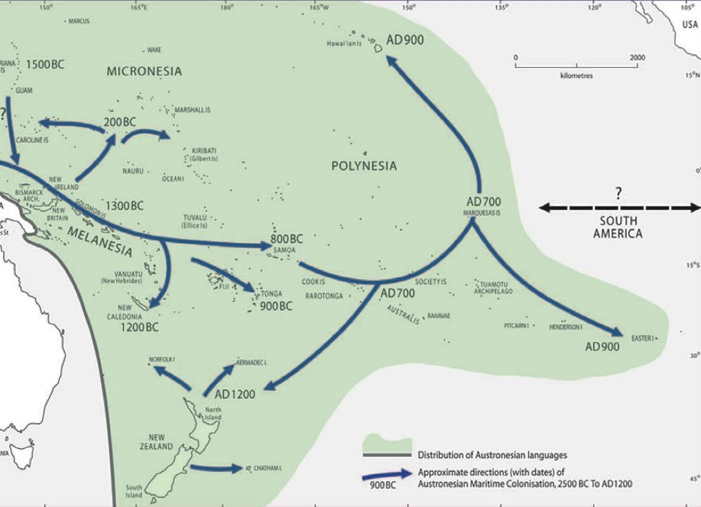 Le peuplement des îles polynésiennes (les dates restent soumises aux différentes théories)