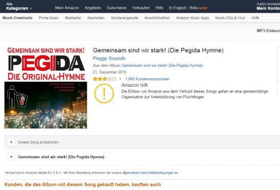 """Amazon reverse aux réfugiés les recettes de la vente d'un """"hymne"""" de Pegida"""